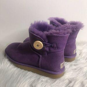 Ugg Bailey button mini boots purple